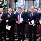 (Left to right) Tony Blair, Gordon Brown, Nick Clegg, David Cameron and Theresa May during a service of thanksgiving for the life and work of former cabinet secretary Sir Jeremy Heywood at Westminster Abbey (Henry Nicholls/PA)