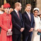 The Duke and Duchess of Cambridge with the Duke and Duchess of Sussex at the Commonwealth Day Service (Richard Pohle/The Times/PA)
