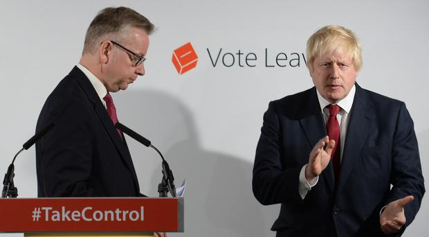 Michael Gove and Boris Johnson worked closely on the Vote Leave campaign but fell out spectacularly in the Tory leadership contest that followed the referendum (Stefan Rousseau/PA)