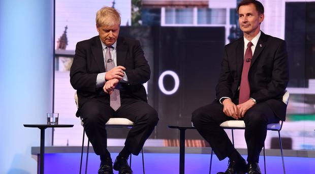 Boris Johnson and Jeremy Hunt during the BBC debate featuring the contestants for the leadership of the Conservative Party (PA)