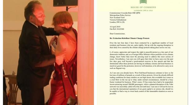 Left, Mark Field with the demonstrator, and right, the letter he sent to Cressida Dick (UK pool/Mark Field)