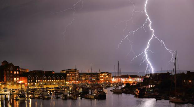 Thunderstorms over Eastbourne (Mark Jarvis/Twitter/PA)
