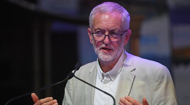 Jeremy Corbyn speaking at a Together for Education rally (Victoria Jones/PA)