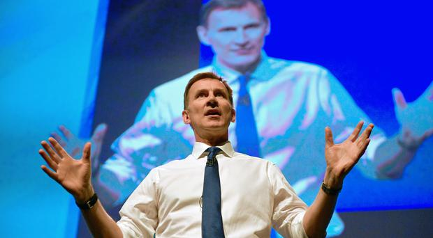 Jeremy Hunt during the first party hustings at the ICC in Birmingham (PA)