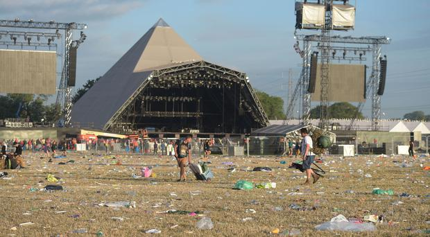Rubbish by the Pyramid Stage following the Glastonbury Festival (Ben Birchall/PA)