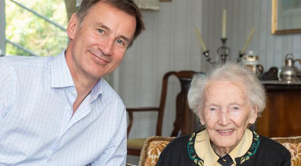 Conservative Party leadership candidate Jeremy Hunt visited his 99-year-old great aunt Betty in Aberdeen (Michal Wachucik/PA)