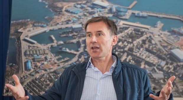 Conservative party leadership candidate Jeremy Hunt during his visit to Peterhead in Aberdeenshire (PA)