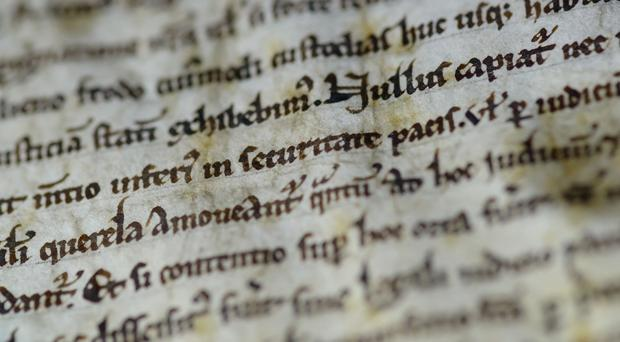 The copy of the Magna Carta on display at the Chapter House, at Salisbury Cathedral (Salisbury Cathedral/PA)