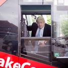 Boris Johnson on a bus (Stefan Rousseau/PA)
