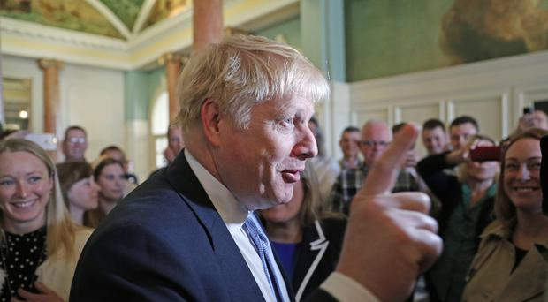 Boris Johnson during a visit to Portsmouth (PA)