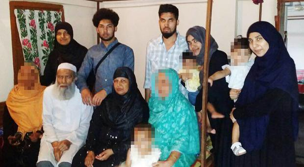 (Back row l to r) Rajia Khanom, 21, Mohammed Toufique Hussain, 19, Mohammed Saleh Hussain, 26, Roshanara Begum, 24, Sheida Khanam, 27 and (front row l to r) Muhammed Abdul Mannan, 75, Minera Khatun, 53, have all died in Syria, according to a relative (Bedfordshire Police/PA)