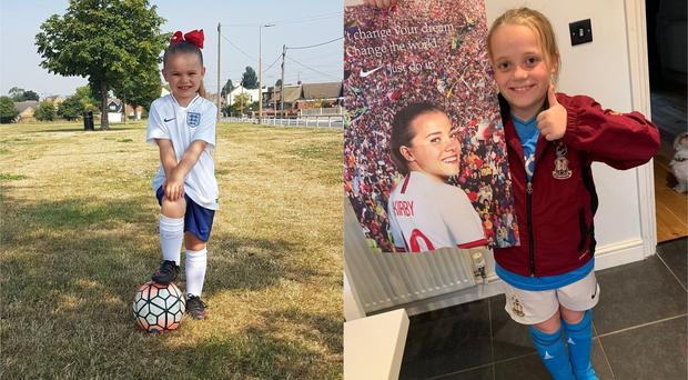 Two young England fans who have been inspired by the success of the Lionesses (Louise Teenans and Joanna Noble)