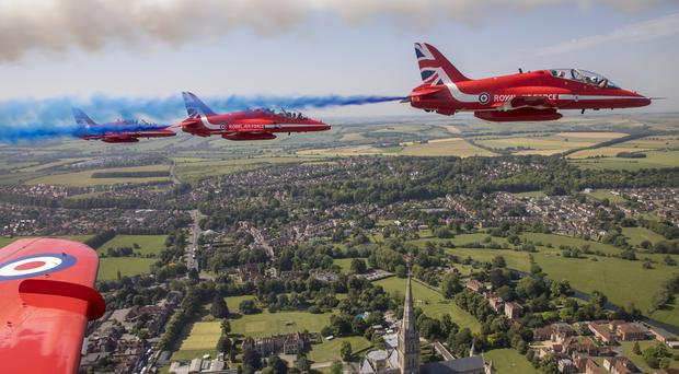 The Red Arrows flying over Salisbury Cathedral during Armed Forces Day 2019 (Corporal Ben Beale/Crown Copyright)