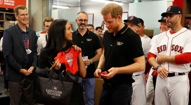 The Duke and Duchess of Sussex receive presents for their son Archie(Peter Nicholls/PA)