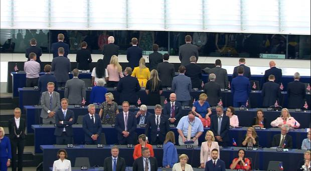 Brexit Party politicians turn their backs on the European anthem Ode To Joy (Europarltv)