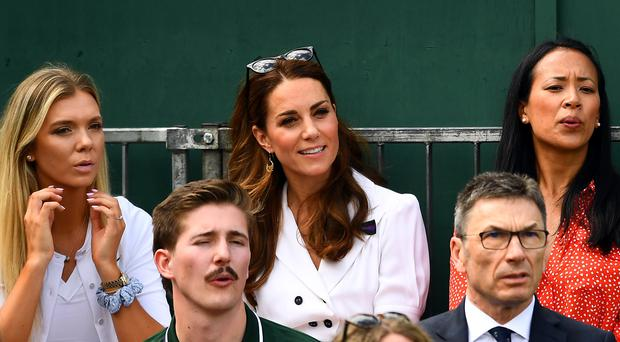 The Duchess of Cambridge with Katie Boulter (left) and Anne Keothavong (Victoria Jones/PA)