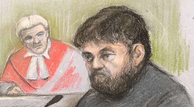 A court sketch of Carl Beech giving evidence at Newcastle Crown Court (Elizabeth Cook/PA)