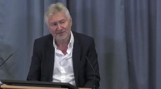 John McDougall giving evidence at the Infected Blood Inquiry in Edinburgh (Infected Blood Inquiry/PA)
