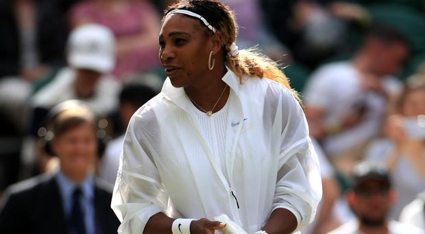 Serena Williams was seen with a plastic cover (Mike Egerton/PA)