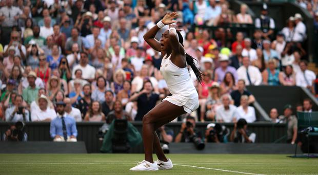 Cori Gauff celebrates beating Polona Hercog (Steven Paston/PA)