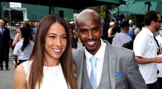 Sir Mo and Lady Farah are in the royal box on Centre Court (Philip Toscano/PA)