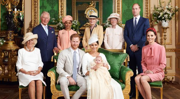 The christening party in the Green Drawing Room at Windsor Castle (Chris Allerton/SussexRoyal)