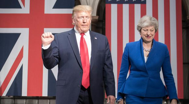 Theresa May and Donald Trump at the Foreign Office during the president's State Visit (Stefan Rousseau/PA)