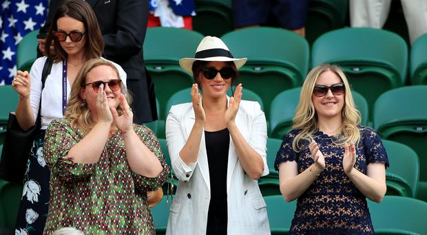 The Duchess of Sussex watching Serena Williams at Wimbledon (Mike Egerton/PA)