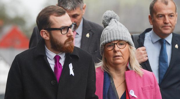 Carl Sargeant's son Jack Sargeant and wife Bernie (Andy Kelvin/PA)