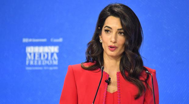 Amal Clooney speaking during the Global Conference for Media Freedom (Dominic Lipinski/PA)