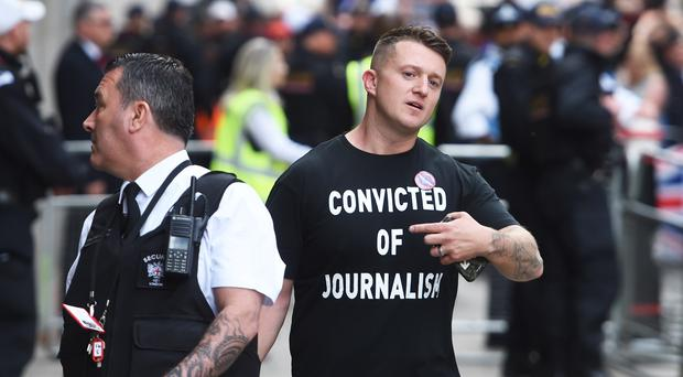 Tommy Robinson arrives for his sentencing at the Old Bailey in London (Aaron Chown/PA)