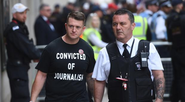 Tommy Robinson arrives for his sentencing at the Old Bailey in London (David Mirzoeff/PA)