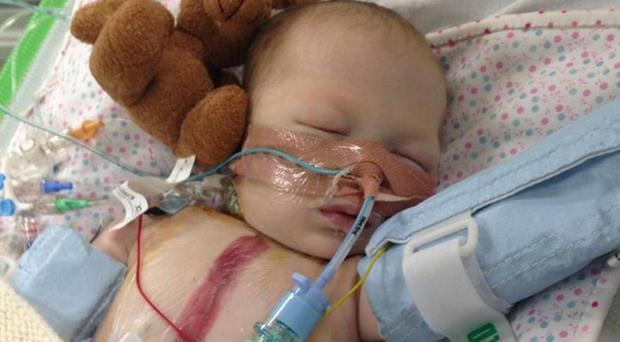Lyla almost died when her heart condition was not spotted until 11 days after birth (University of Birmingham/PA)