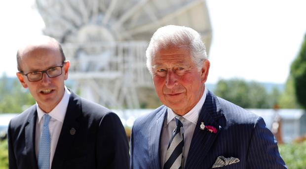 The Prince of Wales, as patron of the Intelligence Agencies, with Jeremy Fleming (Peter Nicholls/PA)