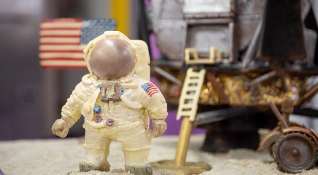 A chocolate recreation of the Apollo 11 moon landing (Jacob King/PA)
