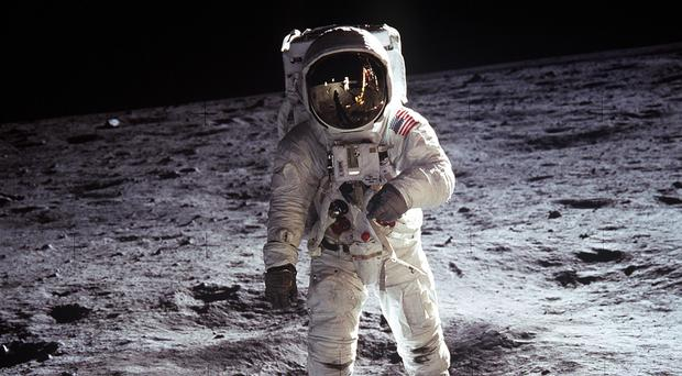 Buzz Aldrin walking on the surface of the moon (NASA/PA)