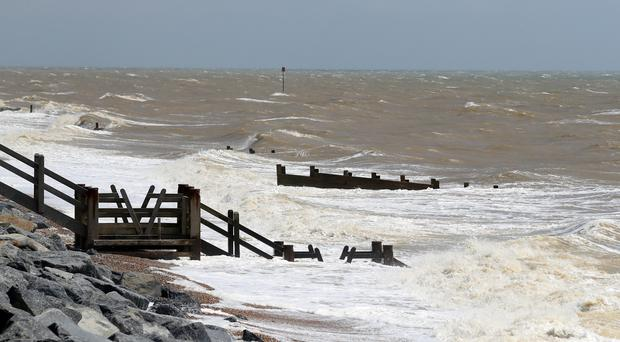 Waves crash on to the shore in Camber, East Sussex, after emergency services attended an accident thought to involve a kite surfer (Gareth Fuller/PA)