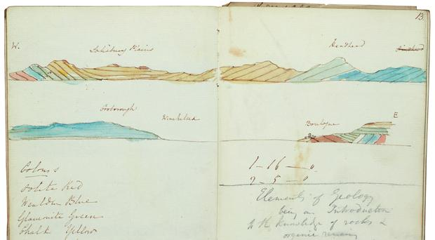 Inside one of the notebooks of Sir Charles Lyell, which campaigners want to keep in the UK (Sotheby's/PA)