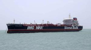 The Foreign Secretary said the vessel was seized in Omani waters in 'clear contravention of international law' (Tasnim News Agency/via AP)