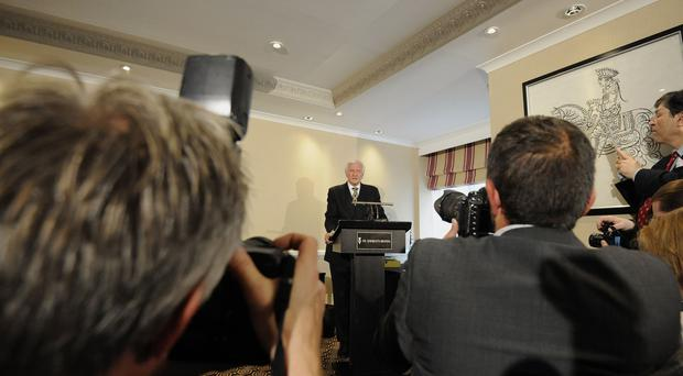 "Former Tory MP Harvey Proctor speaks during a press conference at St Ermin's Hotel, London, where he insisted he is ""completely innocent"" after he was questioned for a second time by detectives investigating claims he was involved in the murder and sexual abuse of children."