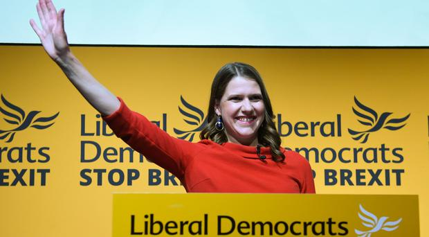 Jo Swinson speaking at Proud Embankment in London after she was elected leader of the Liberal Democrats (Stefan Rousseau/PA)