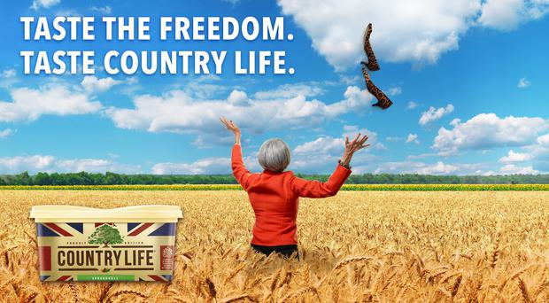 The butter brand has released an advert showing Theresa May in a field of wheat (Country Life)