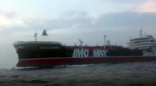 Screengrab taken from footage issued by the Revolutionary Guard of members of the Iranian Revolutionary Guard boarding British oil tanker Stena Impero in the Strait of Hormuz on Friday (Revolutionary Guard/PA)