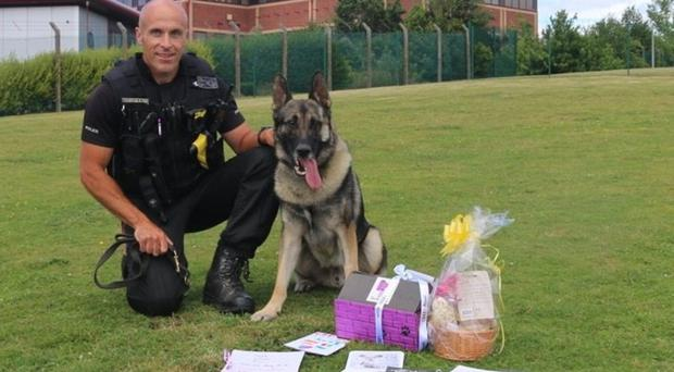 Police Dog Audi with gifts (Staffordshire Police/PA)