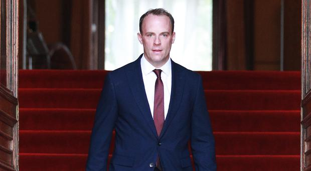 Dominic Raab at the Foreign and Commonwealth building (Dan Kitwood/PA)