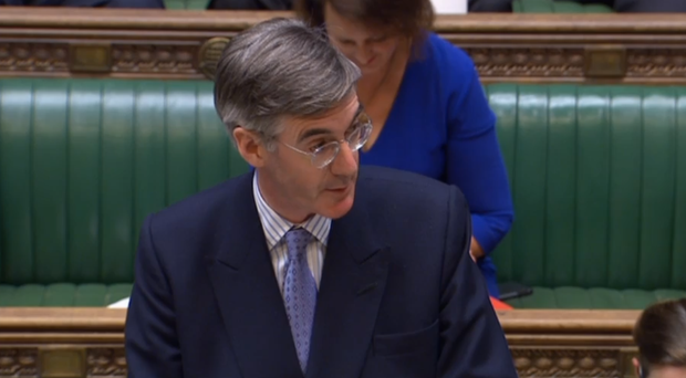 New Commons Leader Jacob Rees-Mogg addresses MPs from the despatch box (PA)