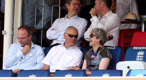 Former prime minister Theresa May in the stands during day two of the Specsavers Test Series match at Lord's (Bradley Collyer/PA)