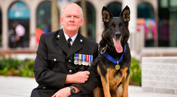 Retired officer Mike Davey with Bacca and his PDSA award
