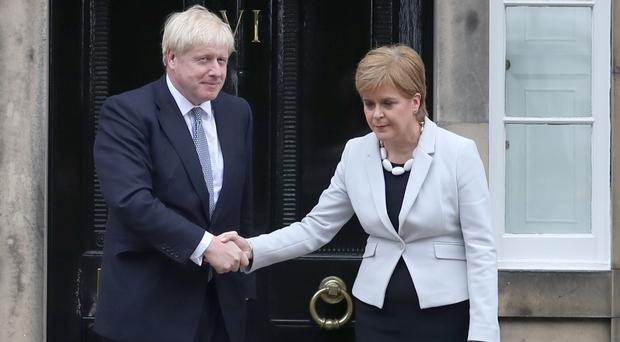 Nicola Sturgeon met new PM Boris Johnon at her Bute House residence (Duncan McGlynn/PA)