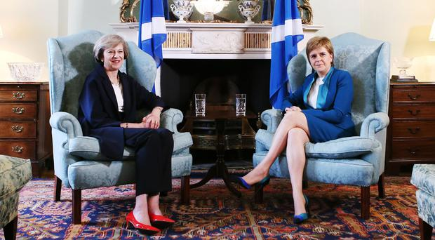 Prime Minister Theresa May (left) meeting with Scotland's First Minister Nicola Sturgeon at Bute House in Edinburgh (Andrew Milligan/PA)